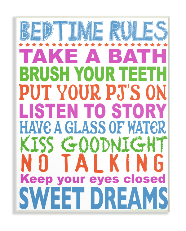 Rules for Sleepytime Typography Wall Plaque Art