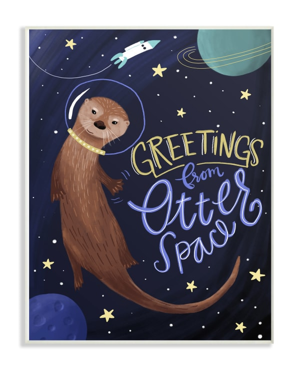 Greetings from Space Wood Plaque Wall Art