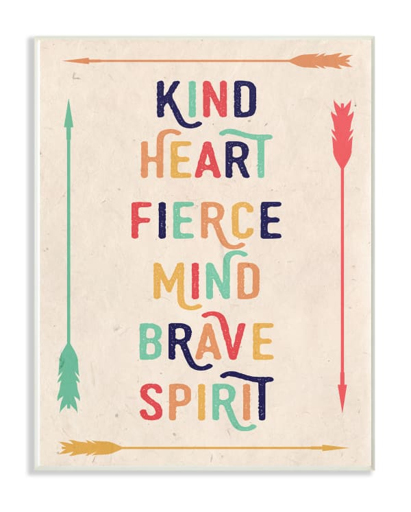 Brave Spirit Typography Wood Plaque Wall Art