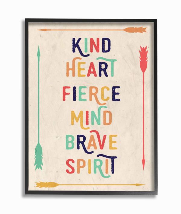 Brave Spirit Typography Framed Giclee Wall Art