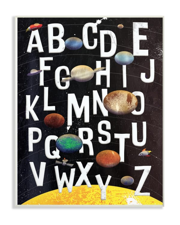 Outer Space Alphabet Wall Plaque Art