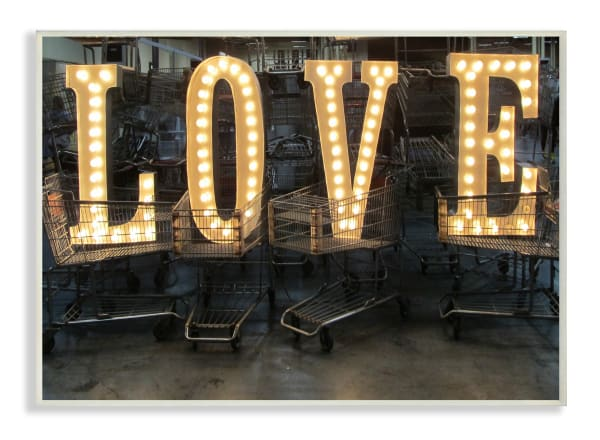 Love Marquee Wood Plaque Wall Art