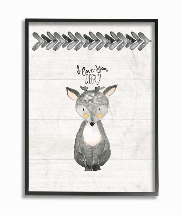 Deer Love Framed Giclee Texturized Art