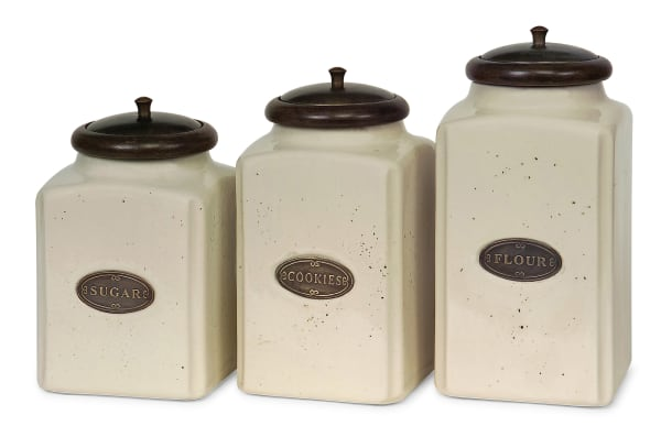 Classic Cream Food Canisters Set of 3