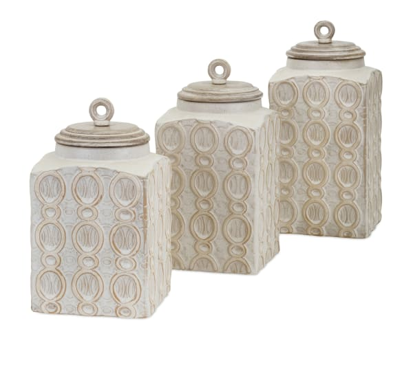 Tan Ceramic Canister Set of 3