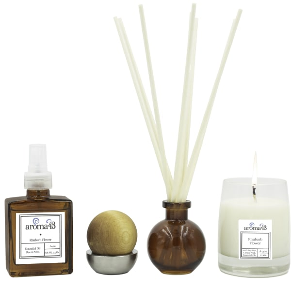 Rhubarb Flower 4-Piece Luxury Fragrance Set, Natural Holistic Sustainable