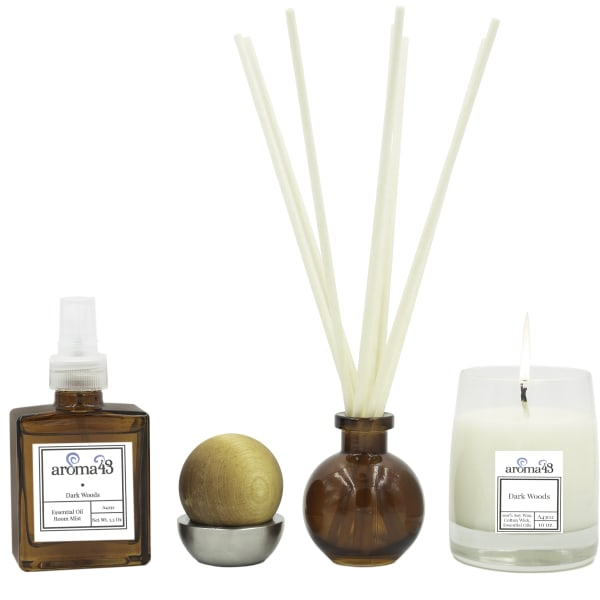 Dark Woods 4-Piece Luxury Fragrance Set, Natural Holistic Sustainable