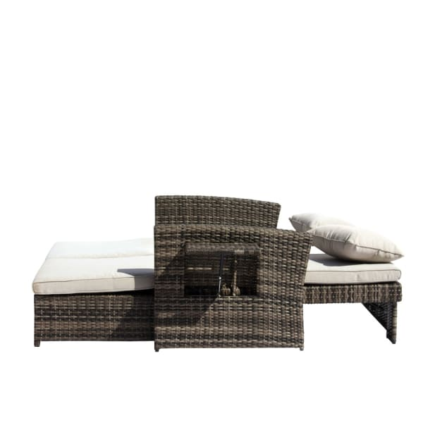 Courtyard Casual Outdoor  Miranda Loveseat to Daybed Combo with Cushions
