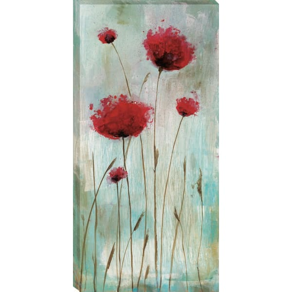 Splash Poppies I By Catherine Brink 22 x 44 Red Gallery Wrap Canvas