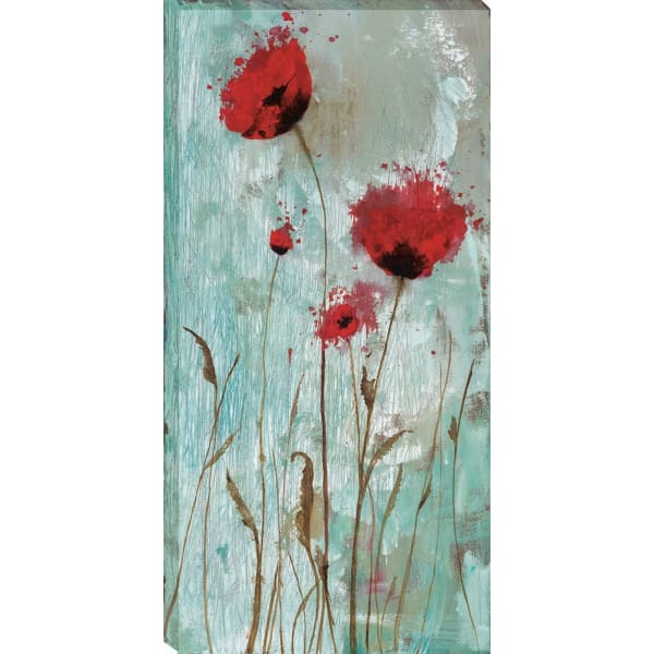 Splash Poppies II By Catherine Brink  Red 22 x 44 Gallery Wrap Canvas