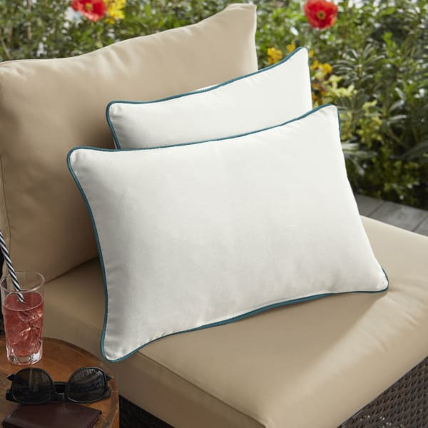 Sunbrella Corded in Canvas Natural with Spectrum Peacock Outdoor Pillows Set of 2