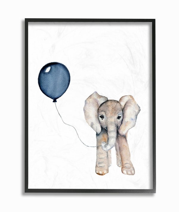 Blue Party Elephant Framed Giclee Texturized Art, 11 x 1.5 x 14