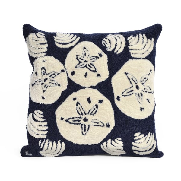 Shell Toss Navy Square Outdoor Pillow