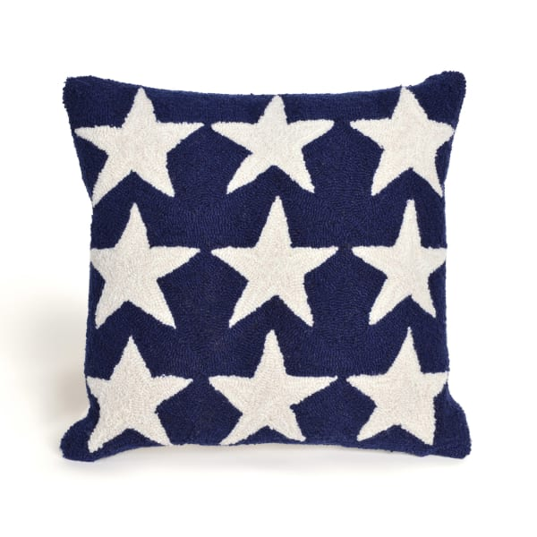 Stars 18 Square Blue Outdoor Pillow