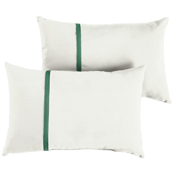 Sunbrella Small Flange in Canvas Natural with Canvas Forest Green Pillows Set of 2