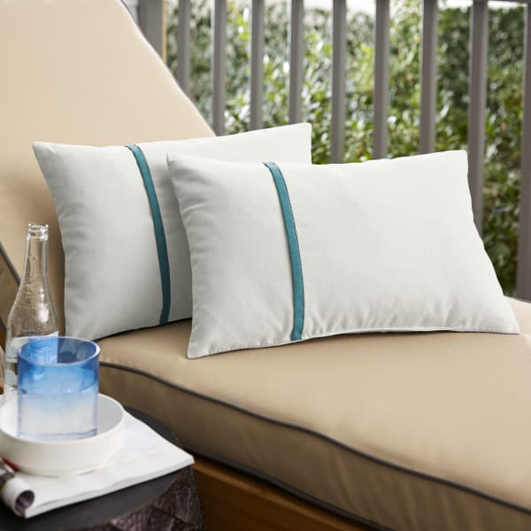 Sunbrella Small Flange in Canvas Natural with Spectrum Peacock Pillows Set of 2
