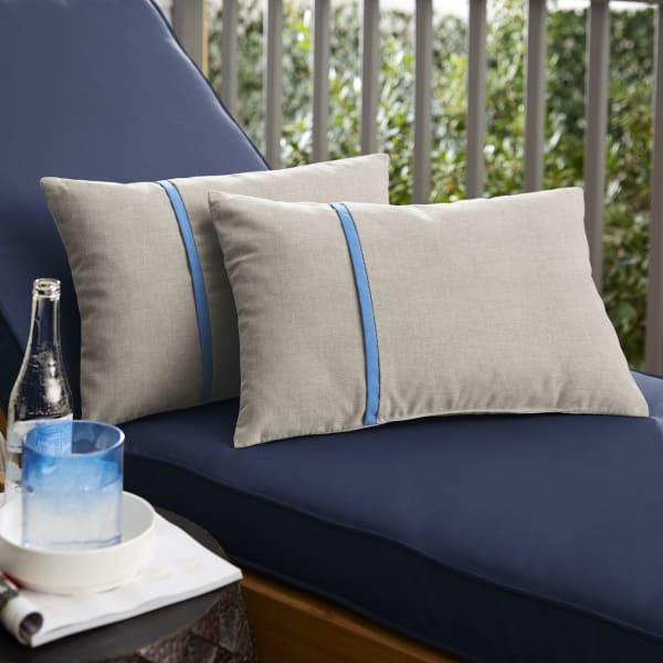 Sunbrella Small Flange in Cast Silver with Canvas Capri Pillows Set of 2