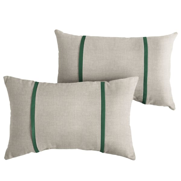 Sunbrella Dual Flange in Cast Silver with Canvas Forest Green Pillows Set of 2
