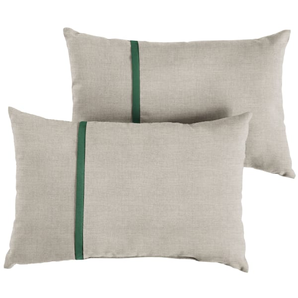 Sunbrella Small Flange in Cast Silver with Canvas Forest Green Pillows Set of 2