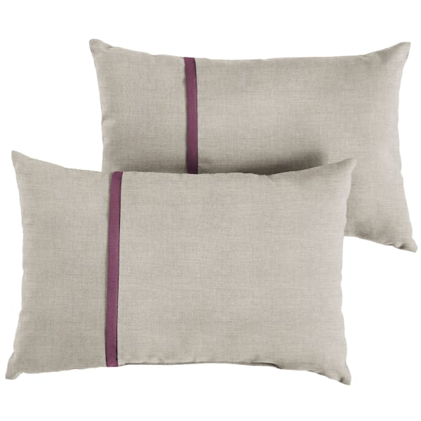 Sunbrella Small Flange in Cast Silver with Canvas Iris Pillows Set of 2