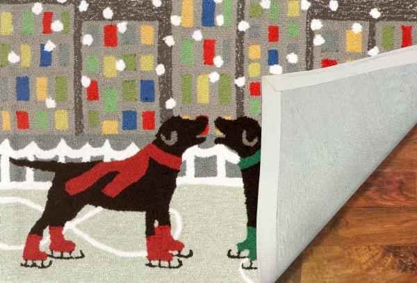 Skating  Dogs Indoor/Outdoor Rug Multi 4' x 2'5