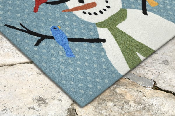 Snowman And Birds Indoor/Outdoor Rug Blue 20
