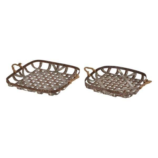 Farmhouse Galvanized Metal Woven Tobacco Basket Tray - Set of 2