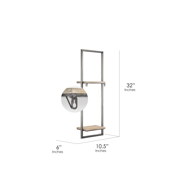 Wood and Metal Hanging Wall Shelf and Rack