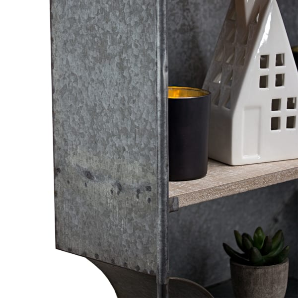 Wood and Metal Hanging Storage Cabinet with Shelves