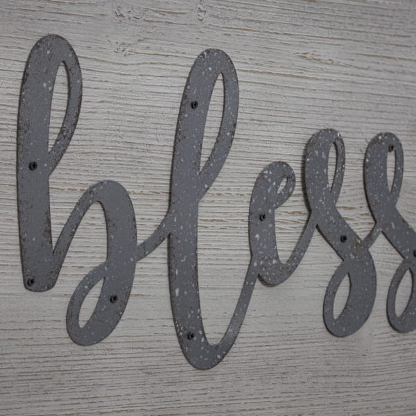 Blessed Wood and Metal Vintage Sign