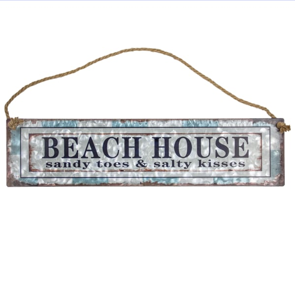 Beach House Hanging Metal Sign