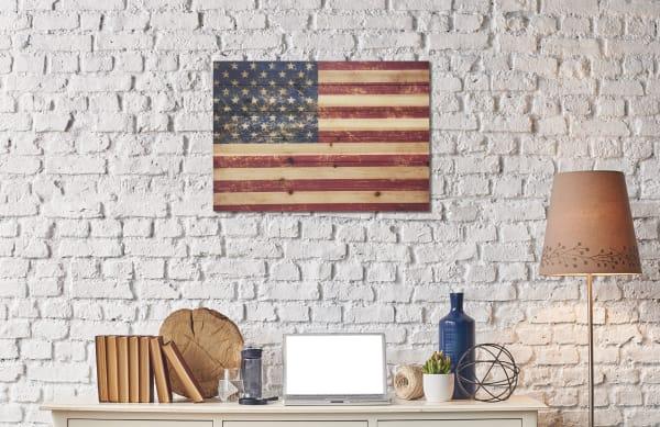 USA Flag Print on Wood Medium