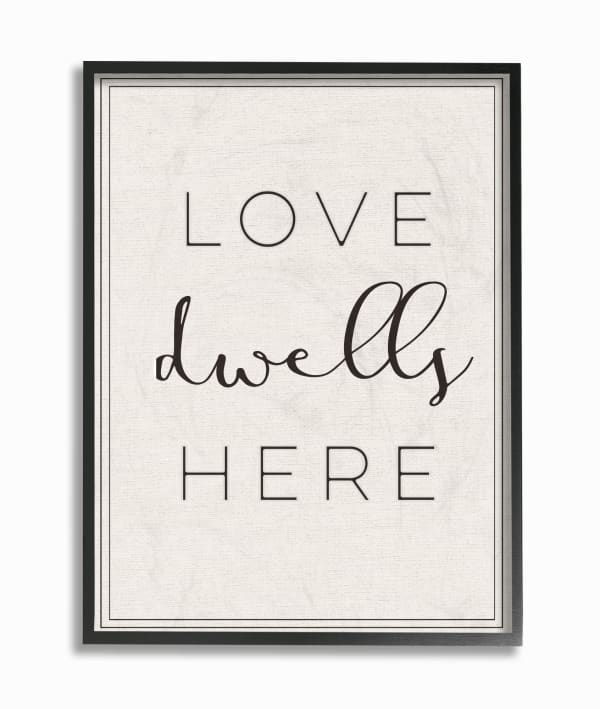 Love Here Typography  Oversized Framed Giclee Textured Art 16 x 1.5 x 20, Proudly Made in USA