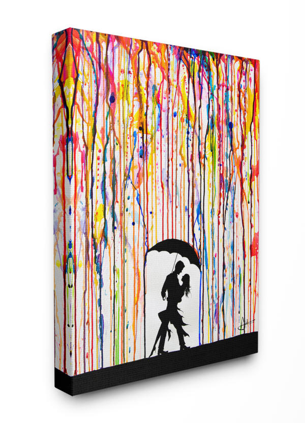 Colorful Rain Dance 24x30 Stretched Canvas