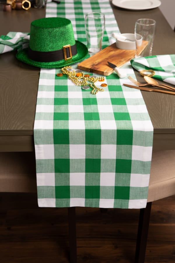Picnic Plaid Green Cotton Table Runner 14x72