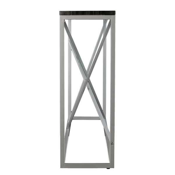 Modern Geometric Lines Faux Marble Silver Console Table
