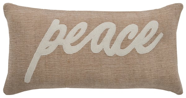 Peace Jute and Cotton Lumbar Pillow Cover