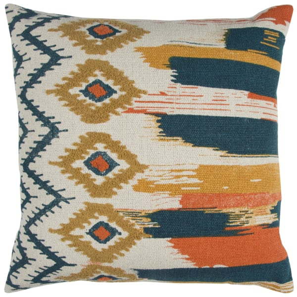 Multicolored Geometric Textured Square Pillow Cover