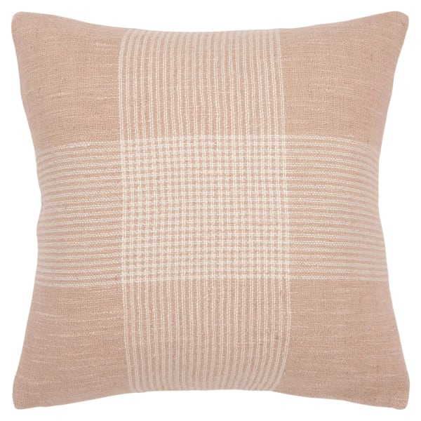 Light Pink and White Plaid Square Pillow
