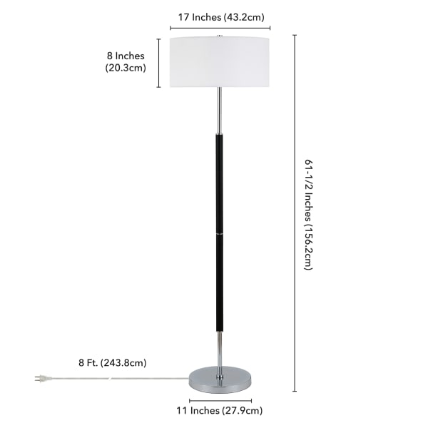 Simone Matte Black and Polished Nickel 2-Bulb Floor Lamp