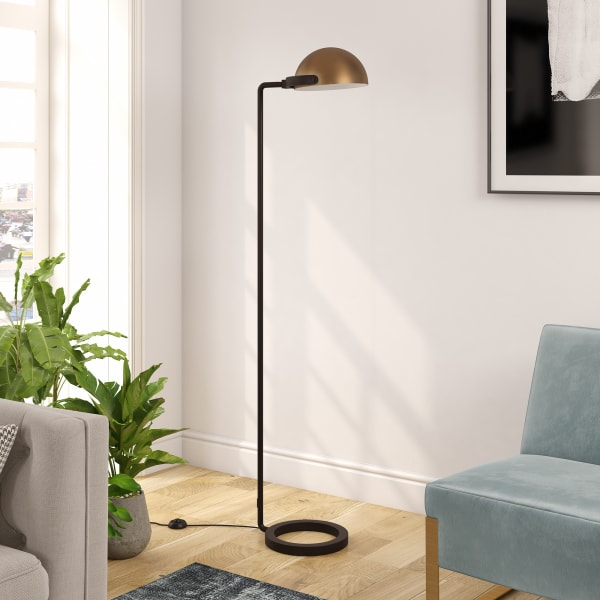 Atticus Blackened Bronze Floor Lamp with Brass Shade