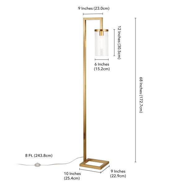 Malva Brass Floor Lamp with Clear Glass Shade