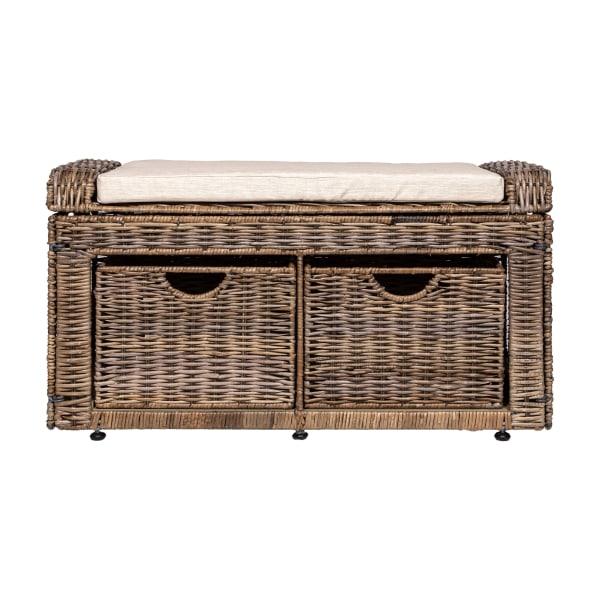 Rattan 2-Drawer Storage Bench Gray 34.5in
