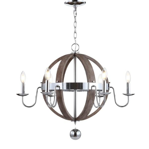 Wood/Metal Sphere Chandelier 28.5in