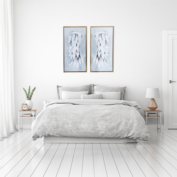 Angel Wings Diptych 29x29 Framed Canvas Wall Art