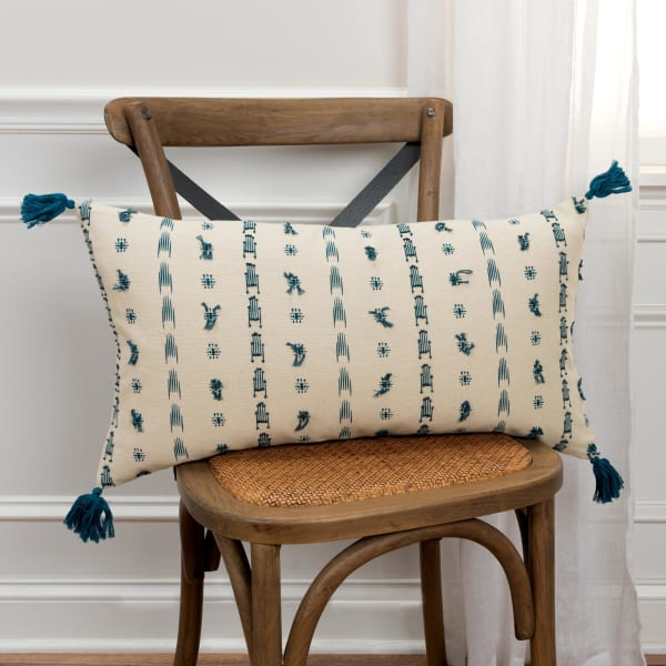 Geometric Tassel Natural 100% Cotton Polyfilled Lumbar Pillow