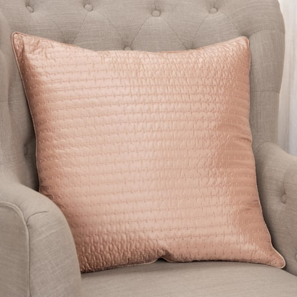 Solid Blush 100% Polyester Polyfilled Pillow