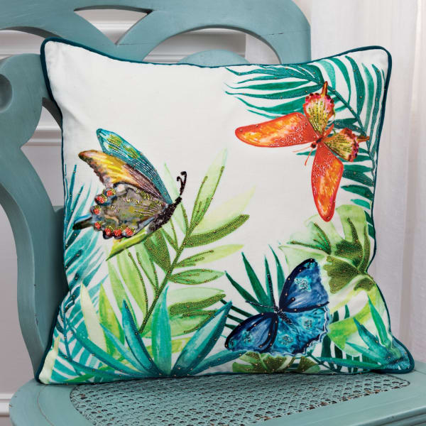 Botanical 100% Cotton Multi Colored Polyfilled Pillow