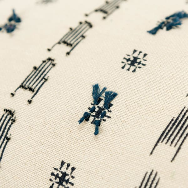 Geometric Tassel 100% Cotton Natural Blue Polyfilled Lumbar Pillow