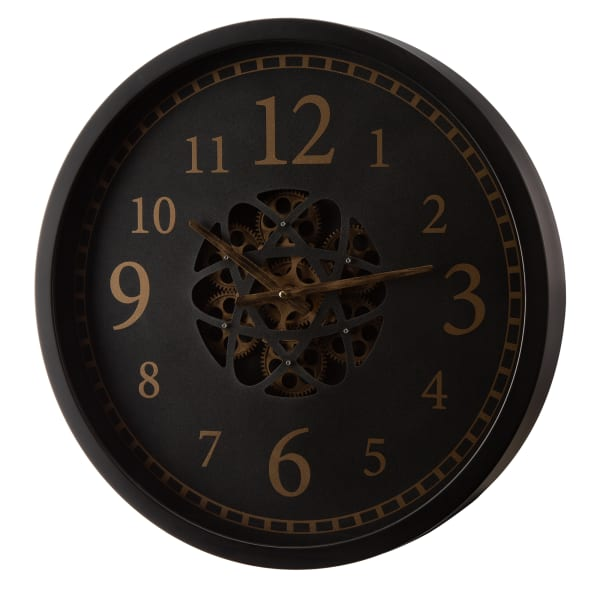 Clifton Morden Oversized Metal Wall Clock with Moving Gears